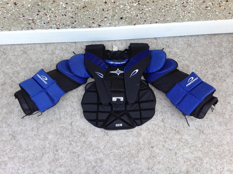 Hockey Goalie Shoulder Chest Pad Men's Senior Size Small Powertek Blue Black Very Nice