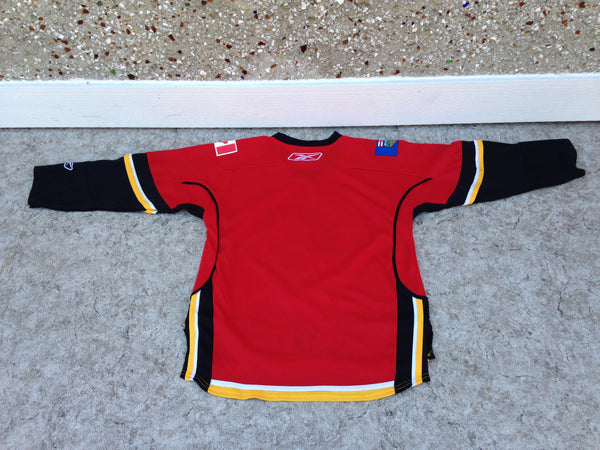 Hockey Jersey Child Size Junior Lg X Large 10-12 Reebok Calgary Flames Excellent