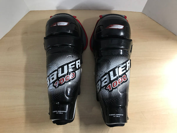 Hockey Shin Pad Men's Size 15 inch Bauer 1000 Calf Wrap Excellent