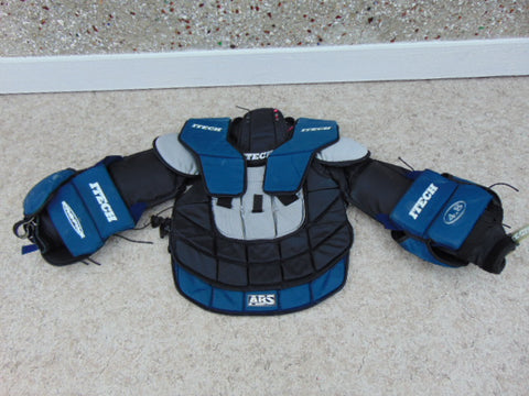 Hockey Goalie Men's Large Itech Shoulder Chest Pad Ice Hockey Blue Grey