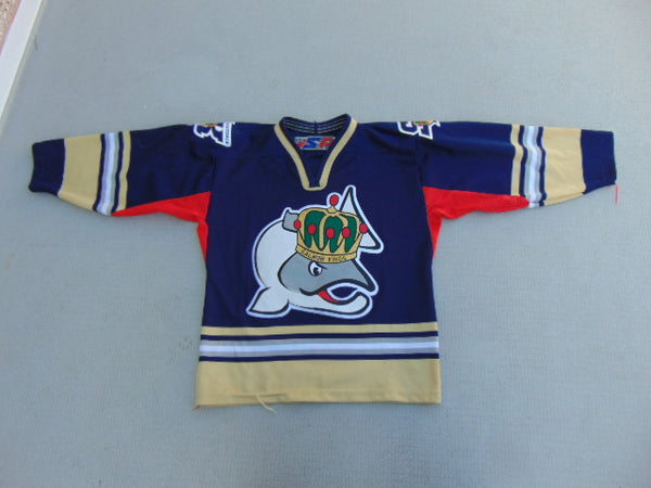 Hockey Jersey Child Size 6-8 Salmon Kings Blue Red Gold