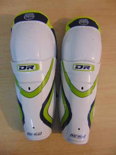 Hockey Shin Pads Child Size 8.5 inch  Age 3-5 White Lime Excellent