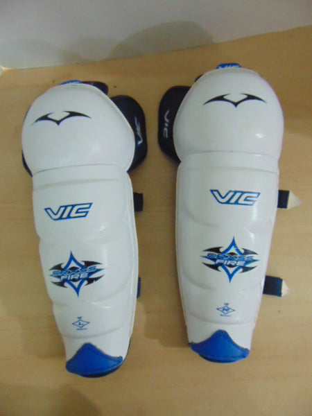 Hockey Shin Pads Child Size 12 inch Vic White Blue