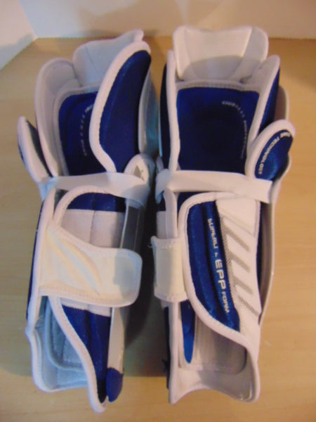 Hockey Shin Pads Child Size 13 inch Bauer Nexus 8000  Calf Wrap As New White Blue Grey