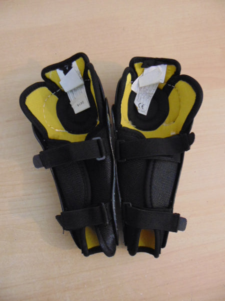 Hockey Shin Pads Child Size 9 inch Bauer Supreme oneflite Black Grey Yellow Excellent