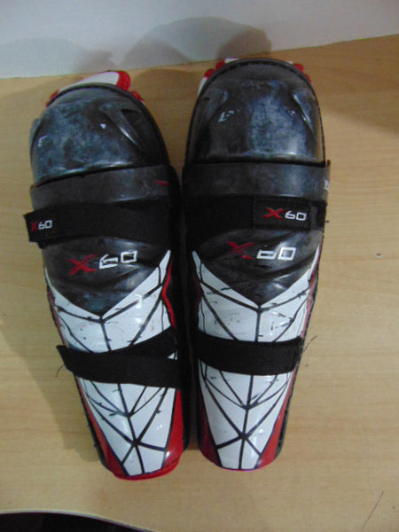 Hockey Shin Pads Child Size 12 inch Bauer X.60 Minor Wear  Black Red