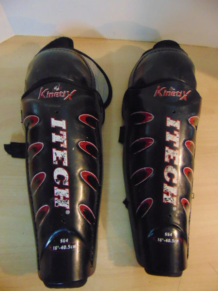 Hockey Shin Pads Men's Size 16 inch Itech Black Red