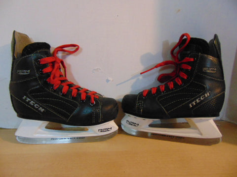 Hockey Skates Child Size 13 Shoe Size Itech Black Red Laces