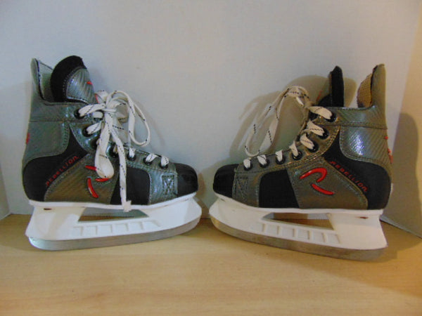 Hockey Skates Child Size 1.5 Shoe Size Rebellion Black Red Excellent