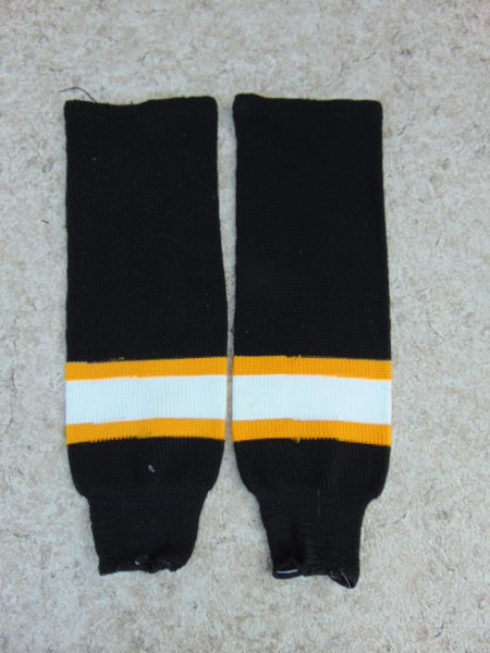 Hockey Socks Child Junior Size 24 inc Black White Gold