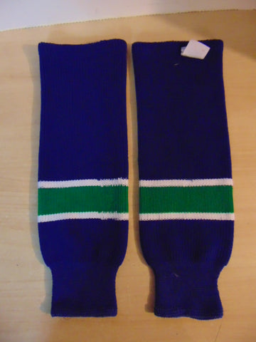 Hockey Socks Child Size 18 inch Canucks Colors Green Blue