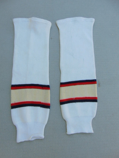 Hockey Socks Child Size 22 inch White Tan Blue Red NEW