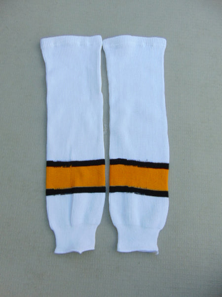 Hockey Socks Child Size 26 inch Junior White Yellow Black