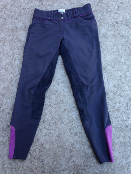 Horseback Riding Equestrian Pull On Breeches Pants Child Size 14-16 Youth 28 Inch Elation Platinum Grey Purple Excellent