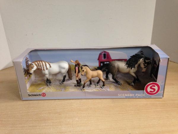 Horses Riding Schleich Germany Horses and Girl New In Box