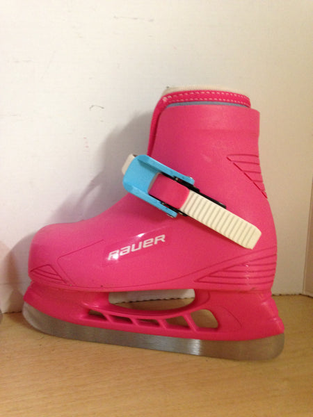 Ice Skate Child Size 8-9 Bauer Toddler Adjustable Pink White Molded Plastic Excellent