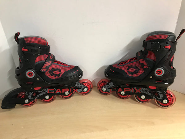 Inline Roller Skates Child Size 1-4 Capix Red Black Rubber Wheels New Demo Model