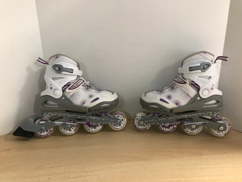 Inline Roller Skates Child Size 5-8 Youth Bladerunner Adjustable White Purple With Rubber Wheels As New