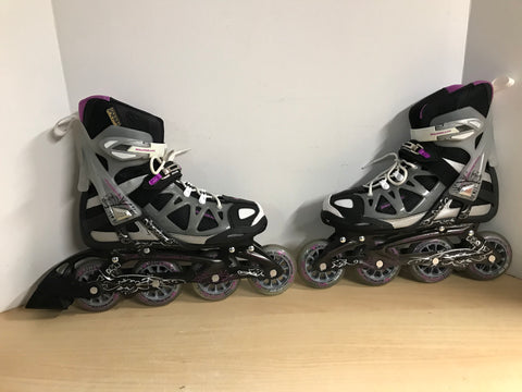 Inline Roller Skates Ladies Size 7.5 Rollerblades Black Grey Purple With Rubber Wheels Excellent