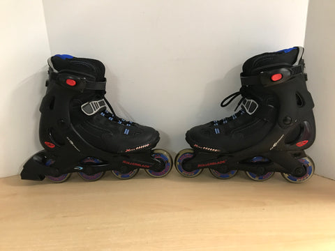 Inline Roller Skates Men's Size 8 Rollerblades Bio dynamic Black Red With Rubber Wheels Excellent