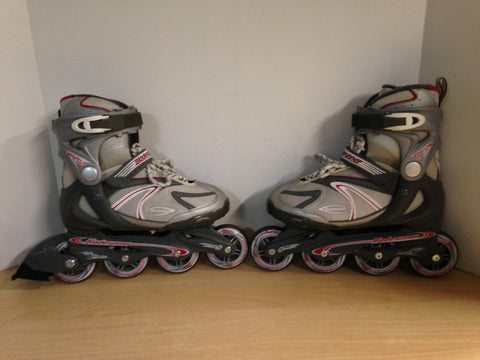 Inline Roller Skates Ladies Size 6 Rollerblades Grey White Pink Rubber Tires Excellent