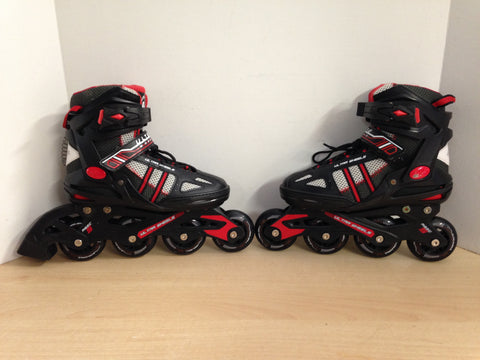 Inline Roller Skates Child Size 5 Ultra Wheels Rubber Tires Red Black Excellent
