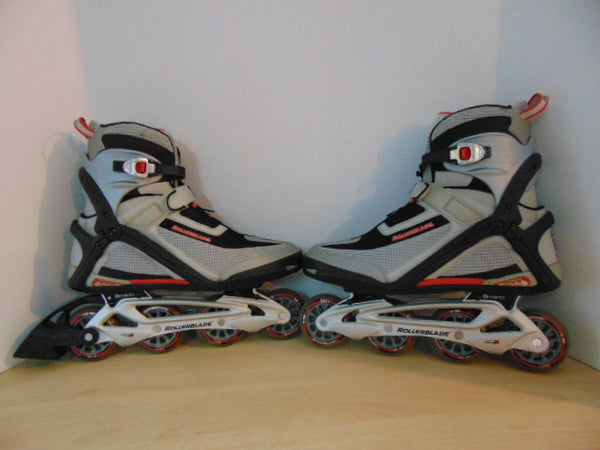 Inline Roller Skates Men's Size 12 Rollerblades Grey Red Excellent