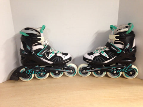 Inline Roller Skates Ladies Size 8.5 Firefly Black White Teal New Demo Model
