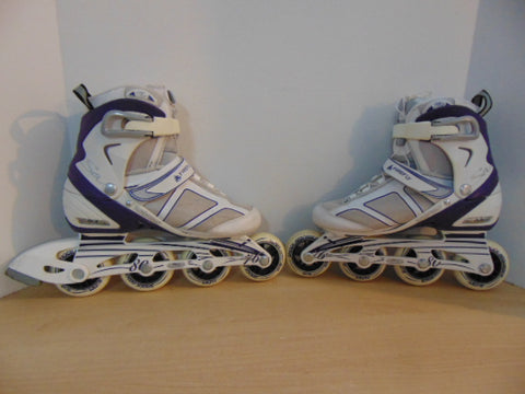 Inline Roller Skates Ladies Size 6 Firefly White Purple Rubber Wheels New Demo Model