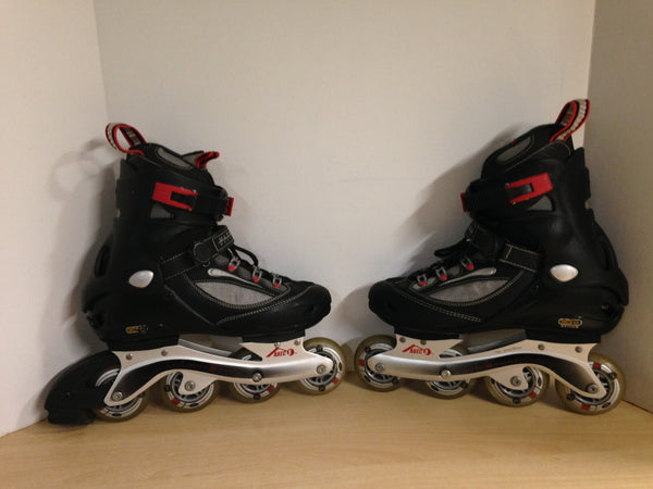 Inline Roller Skates Men's Size 9 Ultra Wheels Red Black Grey Rubber Wheels Excellent