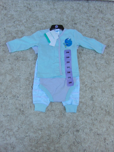 Pajama Babies 3 Month 3 pc Set Disney Blue Purple Cotton NEW TAGS