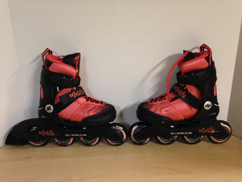Inline Roller Skates Child Size 11-2 Adjustable K-2 Marlee Pro Raspberry Black Rubber Tires New Demo Model