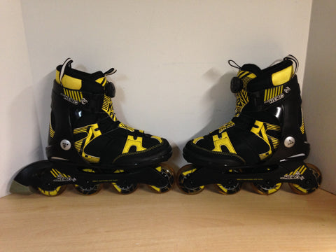 Inline Roller Skates Child Size 4-8 Adjustable K-2 Hero Black Yellow Rubber Tires New Demo Model