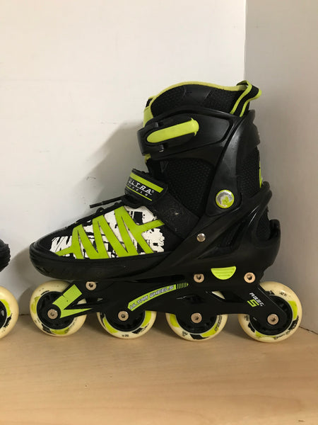 Inline Roller Skates Child Size 5-8 Youth Ultra Wheels Black Lime Rubber Wheels