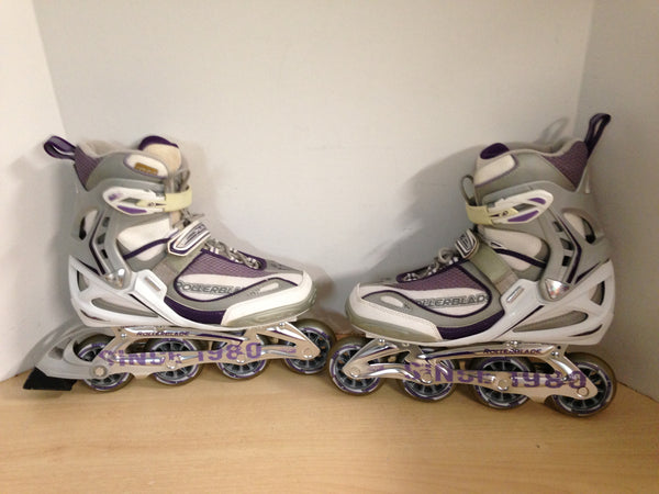 Inline Roller Skates Ladies Size 10 Rollerblades Grey Purple Excellent