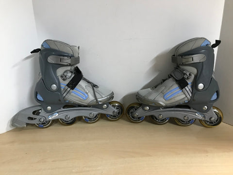 Inline Roller Skates Ladies Size 5 SMX Max Blue Grey Rubber Wheels
