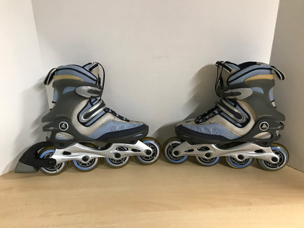 Inline Roller Skates Ladies Size 6 K-2 Blue Grey Rubber Wheels