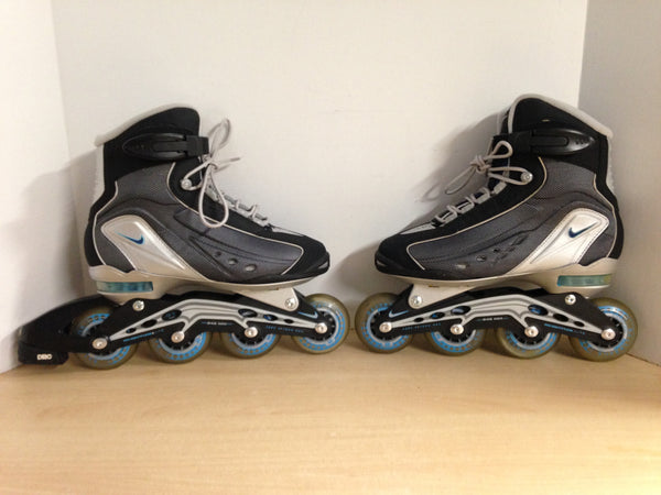 Inline Roller Skates Ladies Size 8 Nike Blue Grey As New