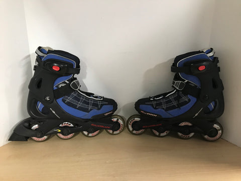Inline Roller Skates Ladies Size 8 Rollerblades Bio Dynamic Black Blue Rubber Wheels