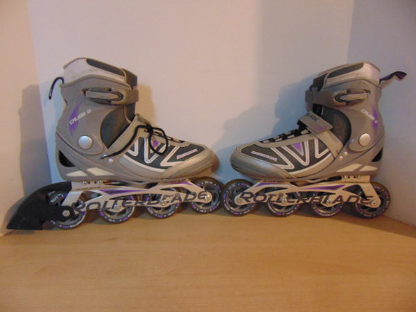 Inline Roller Skates Ladies Size 9 Rollerblades Rubber Tires Purple Grey As New