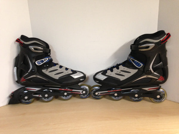 Inline Roller Skates Men's Size 11 Rollerblades Brand Black Red Grey New Demo Model Rubber Tires