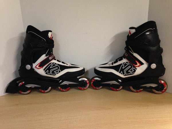 Inline Roller Skates Men's Size 12 k-2 Black Red White New Demo Model Rubber Tires