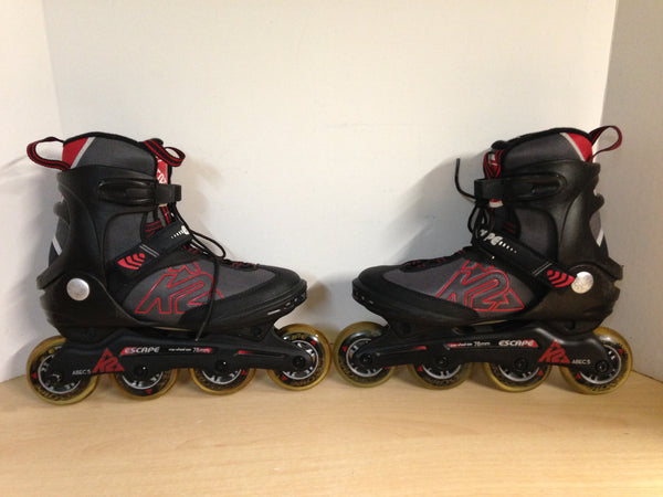 Inline Roller Skates Men's Size 8 k-2 Escape Black Red Grey Rubber Tires  Excellent