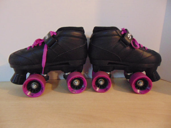 Inline Roller Derby Child Size 3 Nitro Indoor  Outdoor Roller Skates As New Rubber Wheels Black Fushia As New