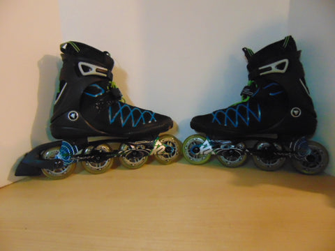 Inline Roller Skates Men's Size 10.5 k-2 Power Rubber Tires Blue Black Multi As New