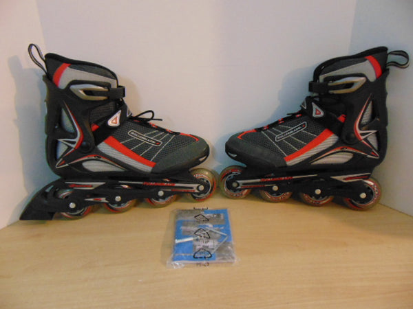 Inline Roller Skates Men's Size 10 Bio Dynamic Rollerblades New Demo Model Black Red Grey