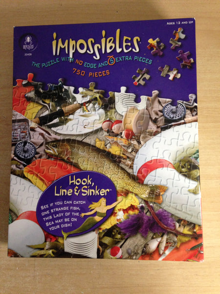 Jigsaw Puzzle 750 Impossibles Borderless Hook Line And Sinker Fishing Gear Lady Of The Sea Excellent