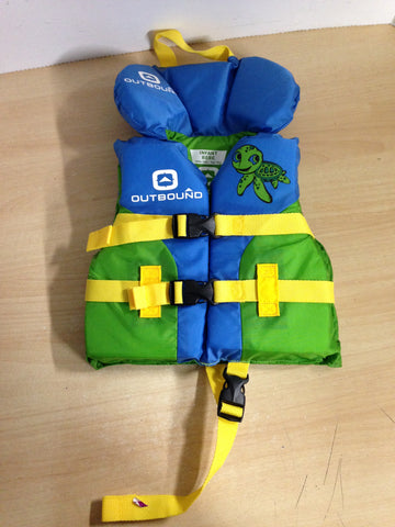 Life Jacket Child Infant Size 20-30 Pound Outbound Green Blue Turtle New Demo Model