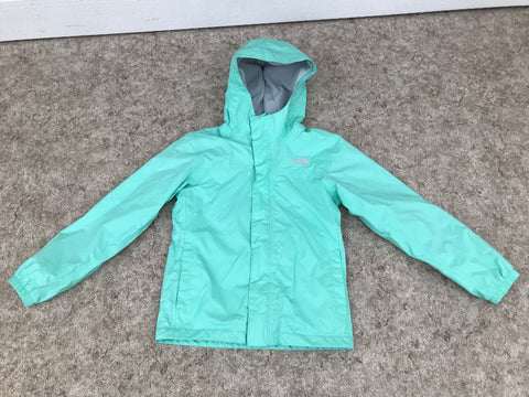 Light Coat Child Size 10-12 The North Face Rain and Wind Mint with Grey Micro Fleece Lined Excellent
