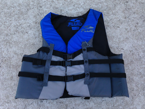 Life Jacket Adult Size X Large Fluid Blue Grey New Demo Model